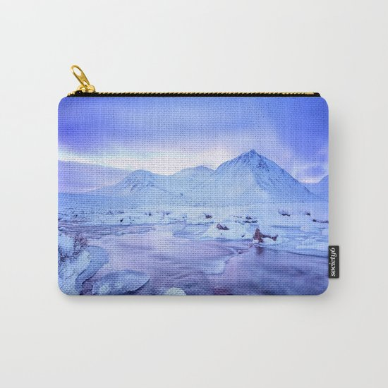 Freezing Mountain Lake Landscape : Blue Carry-All Pouch