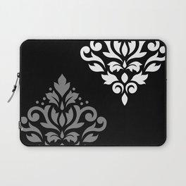 Scroll Damask Art I Black Grey White Laptop Sleeve