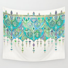 Art Deco Double Drop in Jade and Aquamarine on Cream Wall Tapestry