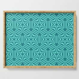 Cyan geometric hexagon stars op art Serving Tray