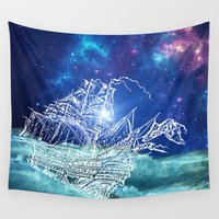 neverland Wall Tapestries featuring To Neverland by Cat Milchard