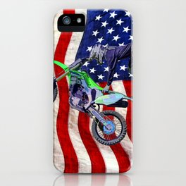 High Flying Freestyle Motocross Rider & US Flag iPhone Case