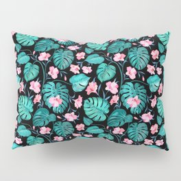 Tropical teal pink black vector floral pattern Pillow Sham