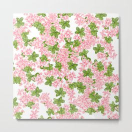 Modern hand painted pink watercolor flowers and green tropical leaf pattern Metal Print