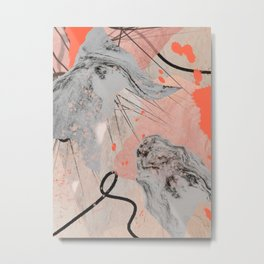 Earth and Fire: a collage print in black, white, and pink by Alyssa Hamilton Art  Metal Print