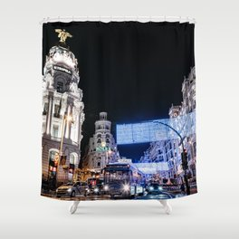 Gran Via Street at Night Shower Curtain