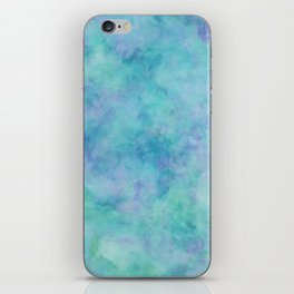 Teal and Blue Tropical Marble Watercolor Texture iPhone Skin