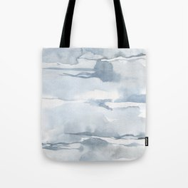 Pastel blue gray abstract watercolor brushstrokes stripes pattern Tote Bag