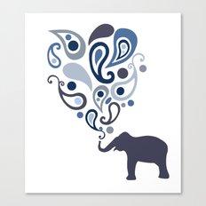 Multi-Blue Paisley Elephant Pattern Design Canvas Print