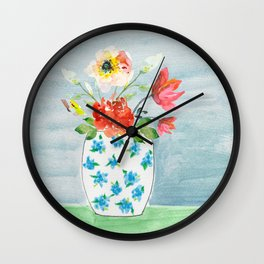 Spring Flowers in Vase Wall Clock