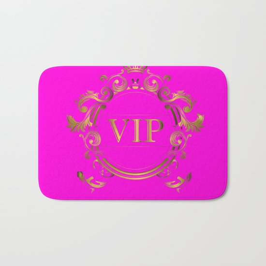 VIP in Hot Pink and Goldtones Bath Mat
