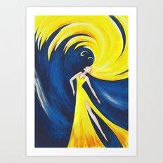 Abstract Wave Girl Art Print