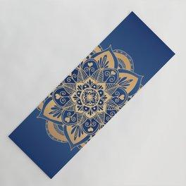 Blue and Gold Flower Mandala Yoga Mat
