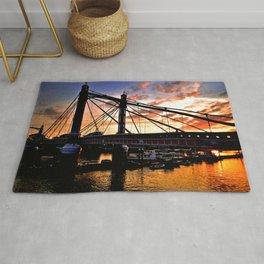 Albert Bridge Sunset River Thames London Rug