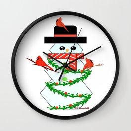 """Snowman And Cardinals"" Wall Clock"