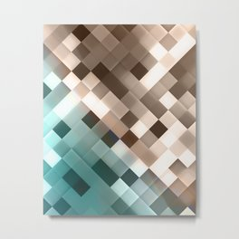 NL 5 Gold and Blue Pixel Tile Metal Print