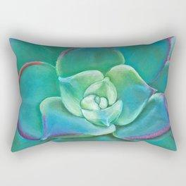 Vibrant Aqua Succulent Plant Rectangular Pillow