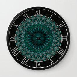 Mandala in malachite tones Wall Clock