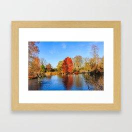Winter Lake Scene Framed Art Print