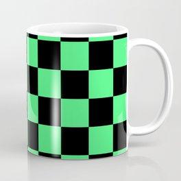 Black and Green Checkerboard Pattern Coffee Mug