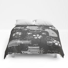 Colt Revolver Patent - Colt Firearm Art - Black Chalkboard Comforters