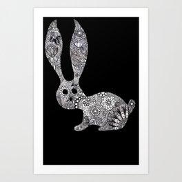 Bunny in the dark Art Print