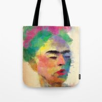 frida kahlo Tote Bags featuring frida kahlo by vale agapi