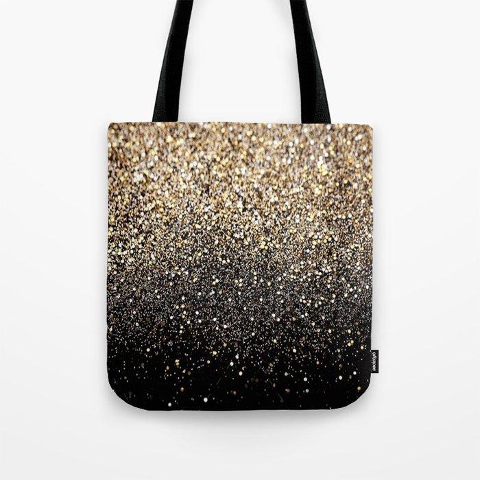 Black Gold Sparkle Tote Bag