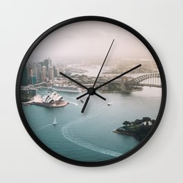 Sydney Opera House Harbour Bridge | Australia Aerial Travel Photography Wall Clock