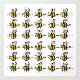 Hand drawn black yellow stripes cute honey bee illustration Art Print