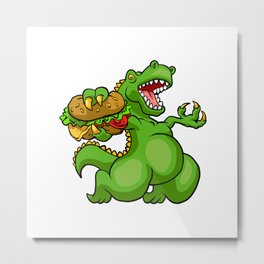 dinosaur eating hamburger Metal Print