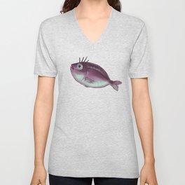 Funny Fish With Fancy Eyelashes Unisex V-Neck