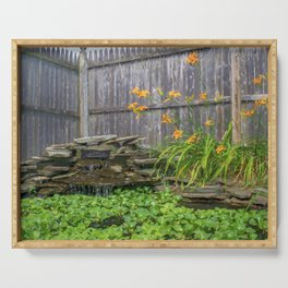 Garden Pond with Orange Day Lilies Serving Tray