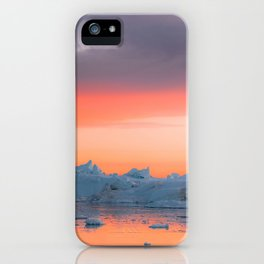 Surreal Iceberg during a bright orange Sunset Sky – Arctic Nature Photography iPhone Case