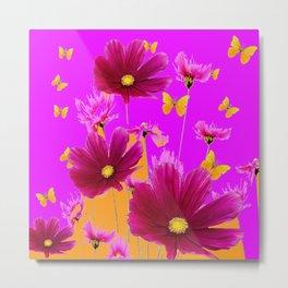 DECORATIVE YELLOW BUTTERFLIES & FUCHSIA PURPLE SPRING FLOWERS GARDEN ART Metal Print