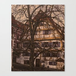 old half-timbered house with restaurant ( Ulm - Fischerviertel ) Canvas Print