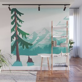 View from 217 - Vintage Inspired Mid Century Style Watercolor Landscape Snow Mountain Wall Mural