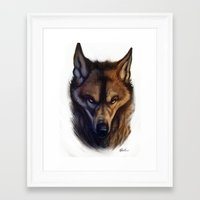 bad wolf Framed Art Prints featuring Bad Wolf by Melantic Art & Illustration