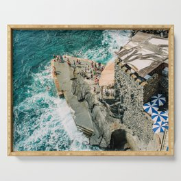 """Travel photography print """"Rocky Beach"""" photo art made in Italy. Art Print Serving Tray"""