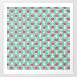 Red white vintage green hand painted tulips Art Print