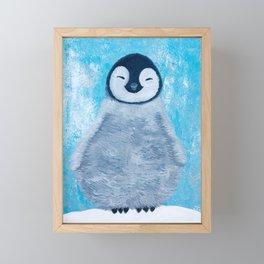 Happy Fluffy Baby Penguin Framed Mini Art Print