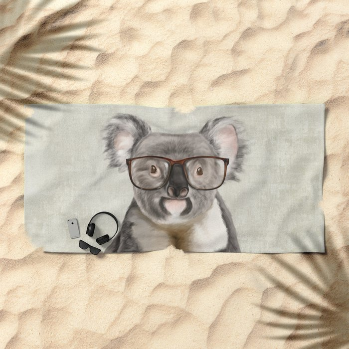 A Baby Koala With Glasses On Rustic Background Beach Towel