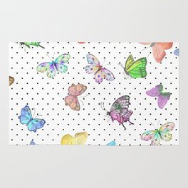 Colorful pink teal watercolor hand painted butterfly polka dots Rug