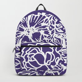 White Flowery Linocut Wreath On Checked UltraViolet Backpack