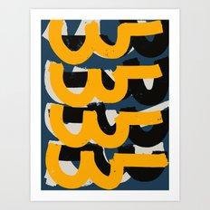 Yellow and blue Zen Abstract Pattern Design Art Print