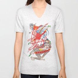 The Legendary Panda Brother & Dragon Sister  / Original A4 Illustration / Colored Pencil & Ink Unisex V-Neck