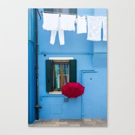 Burano, Italy Laundry Day Canvas Print