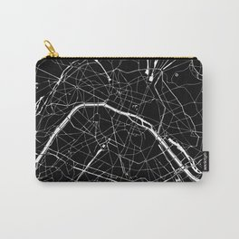 Paris France Minimal Street Map - Black on White Carry-All Pouch