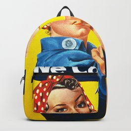 Rosie The Riveter Vintage Women Empower Women's Rights Sexual Harassment Backpack