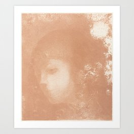 Head of a Child with Flowers Art Print